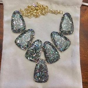 NWOT Harlow purple crushed abalone gold necklace